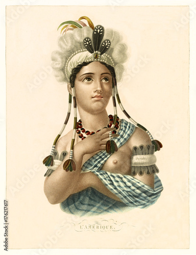 Valokuvatapetti Old illustration depicting a young native maiden: early form of the allegorical figure representing America