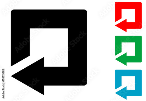 Icono plano flecha reinicio cuadrado varios colores Canvas Print