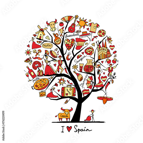 Art Tree With Spain Symbols For Your Design Buy This Stock Vector