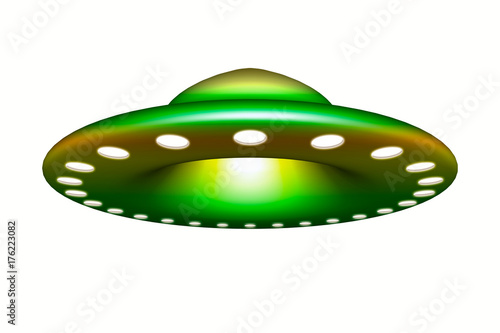 Poster UFO Ufo - Alien spaceship, flying saucer isolated on white background 3d rendering.