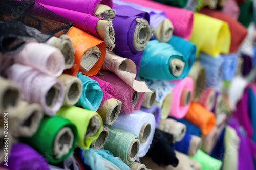 Aluminium Prints Fabric Colorful rolls of textiles
