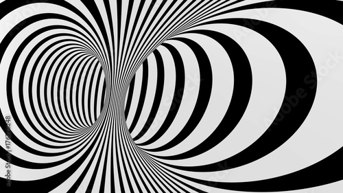 Photo Black and white abstract vector tunnel