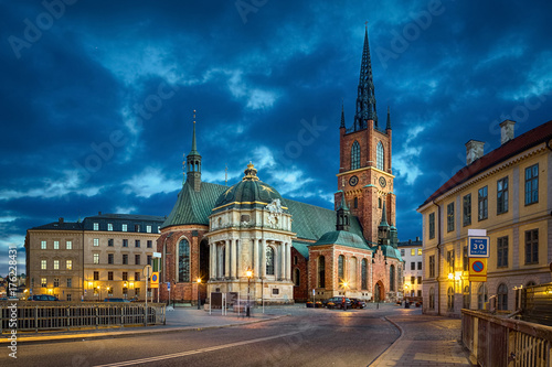 Poster Stockholm HDR image of Riddarholmen Church at dusk located in Old Town (Gamla Stan) of Stockholm, Sweden