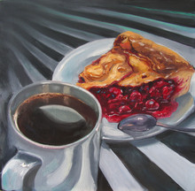 Black Coffee In White Cup And A Piece Of Cherry Pie On White Plate With Silver Spoon, On Fantasy Striped Black And White Background. Original Oil Painting On Canvas