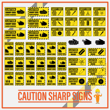Set Of Safety Caution Sharp Si...