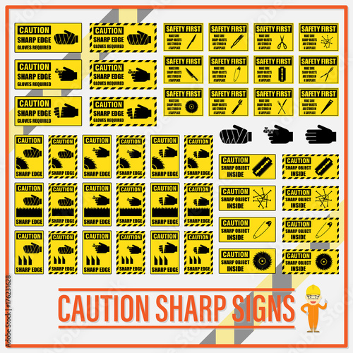 Fotografie, Obraz Set of safety caution sharp signs, Safety caution sharp labels for determining any object which has sharp edge or corner