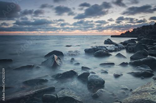 Fotografie, Obraz  Rocky beach at dusk