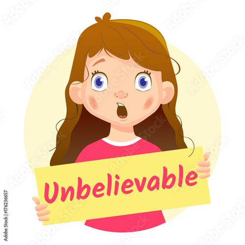 Fotografie, Obraz  Girl holding Unbelievable poster-surprised