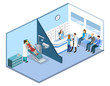 Isometric 3D vector illustration people are enrolled to see a dentist.