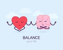 Cute Brain And Heart Meditatio...