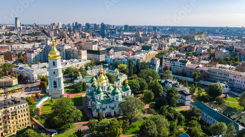Foto op Plexiglas Kiev Aerial top view of St Sophia cathedral and Kiev city skyline from above, Kyiv cityscape, capital of Ukraine