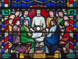 NaklejkaLONDON, GREAT BRITAIN - SEPTEMBER 16, 2017: The stained glass of Last Supper in church St Etheldreda by Charles Blakeman (1953 - 1953).