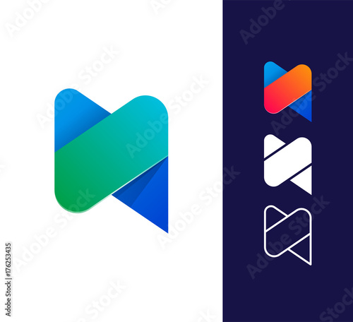 n letter logo template vector abstract material design style buy