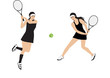 two girls playing tennis - isolated on white background - art creative vector