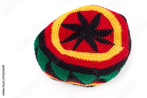 Fototapeta rastamana's hat isolate on white background