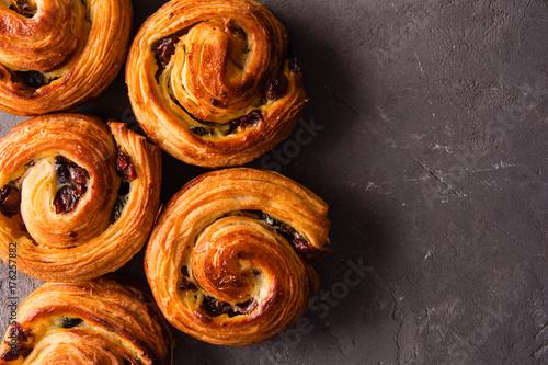 French traditional pastries. Pains aux raisins. Canvas Print