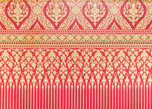 Traditional Thai Pattern On The Red Wallpaper.
