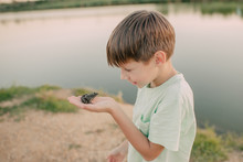 The Boy Is Holding A Toad On T...