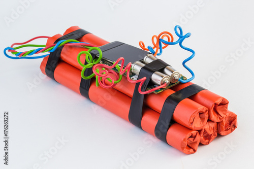 bomb with digital timer on white background. Fototapet
