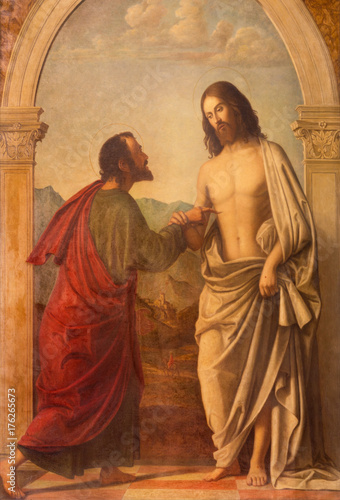 LONDON, GREAT BRITAIN - SEPTEMBER 18, 2017: The painting of Christ appearing to the doubting Thomas in church Immaculate Conception, Farm Street based on a original by Cima da Conegliano.