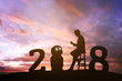 Leinwanddruck Bild - 2018 years of robot assistant technology , industry 4.0 , artificial intelligence trend concept. Silhouette of business man talking to automation robo advisor. Vivid twilight sunset sky background.