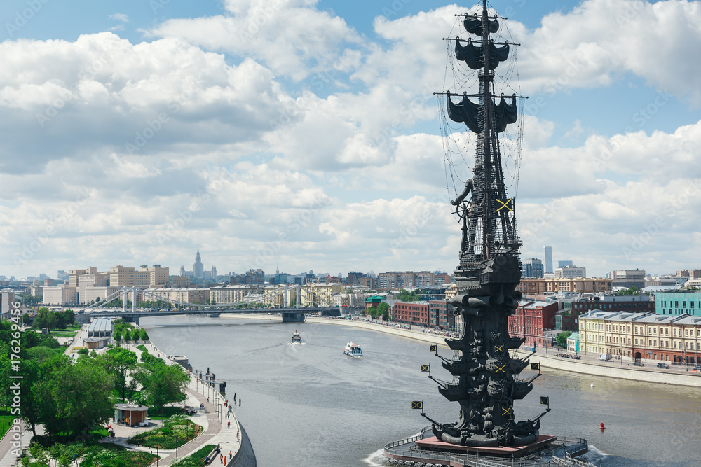 Photo  Monument to Peter the great in Moscow on the Moscow river