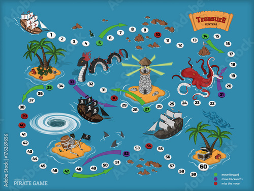 Tuinposter Op straat Pirate board game for children. Map of the treasure hunter. Corsair ship and sea monsters in isometric style. Chest of gold on tropical island. Vector illustration