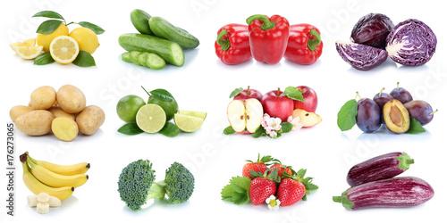 Poster Légumes frais Obst und Gemüse Früchte Apfel Erdbeeren Zitrone Farben Collage Freisteller freigestellt isoliert