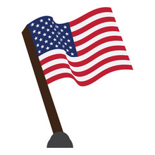Isolated Flag Of The United States On A White Background, Vector Illustration