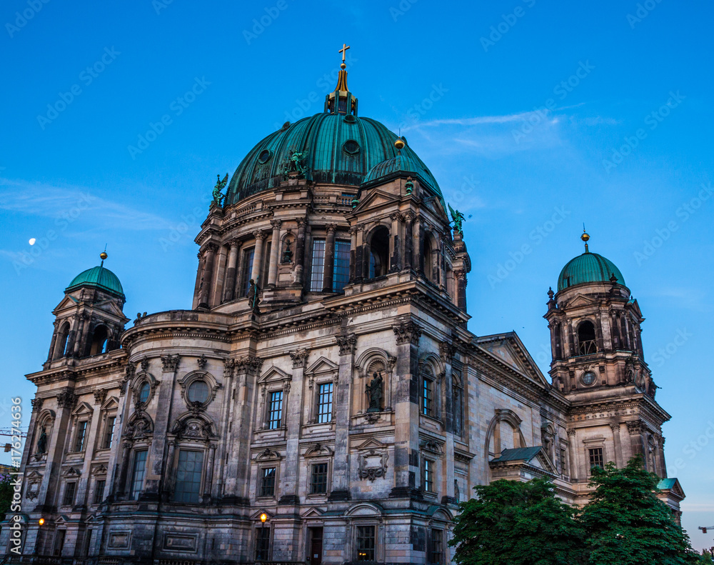 Beautiful view of historic Berlin Cathedral (Berliner Dom) at sunrise, Berlin, G Poster