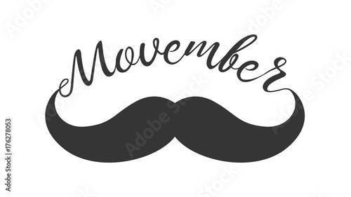 Photo  Vintage black curly moustache and hand lettered phrase Movember for poster, banner and card