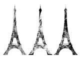 Fototapeta Fototapety z wieżą Eiffla - eiffel tower grunge style silhouette - tourism and sightseeing in france vector design set
