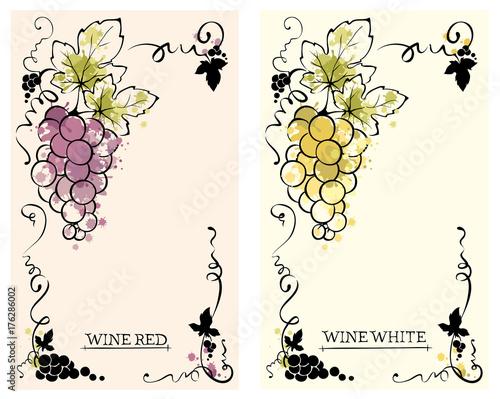 Label for red and white wine -- set /  Vector illustration, floral design element, splash watercolor Fototapete