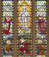 NaklejkaLONDON, GREAT BRITAIN - SEPTEMBER 14, 2017: The Transfiguration of the Lord on the stained glass in the church St. Catharine Cree from 19. cent.