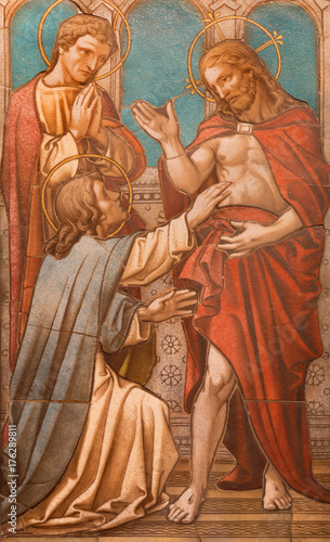 LONDON, GREAT BRITAIN - SEPTEMBER 17, 2017: The tiled mosaic of Christ appearing to the doubting Thomas on the altar in church of St. James Spanish Place from 19. cent.