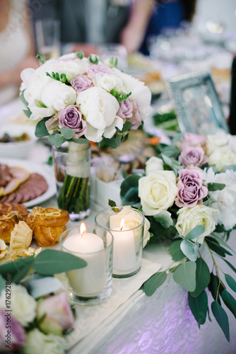 Wedding Table Decorations Flowers White Candles Decoration In