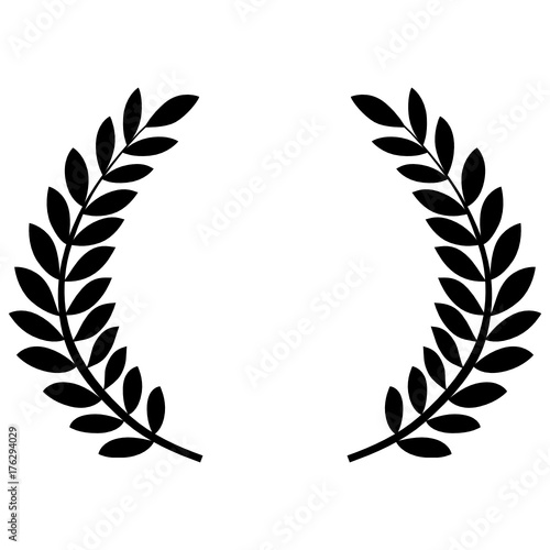 Fotografie, Obraz  couronne de laurier - Laurel wreath - flat icon