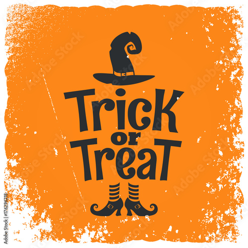 La pose en embrasure Halloween Trick or treat halloween witch lettering background