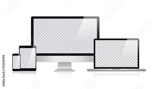 Copy of Realistic Computer, Laptop, Tablet and Mobile Phone in apple design with Transparent Wallpaper Screen Isolated. Set of Device Mockup Separate Groups and Layers. Easily Editable Vector.