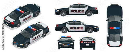 Fotografía  Vector Police car with rooftop flashing lights, a siren and emblems