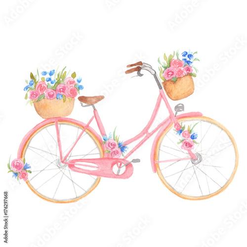 rozowy-rower-z-kwiatami-na-bialym-tle