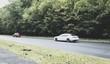 samochody osobowe na drodze w lesie