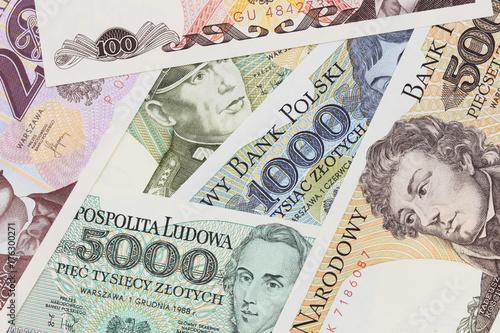 Cuadros en Lienzo Old Polish banknotes close up in studio. PRL money zloty.