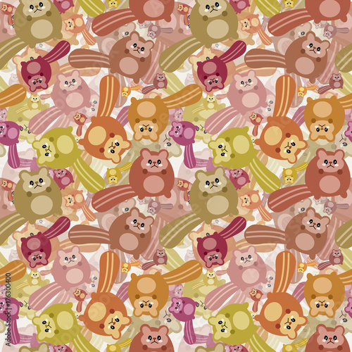 Poster Jeunes enfants Crazy squirrel mess pattern. Pattern illustration of a Autumn kawaii mess of little cute squirrel with cat faces. All this joy is needed for the celebration of Autumn's arrival.