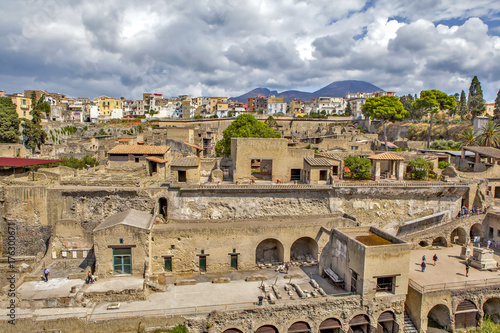 Poster Athens Панорама руин древнего города Геркуланума. Эрколано. Италия.