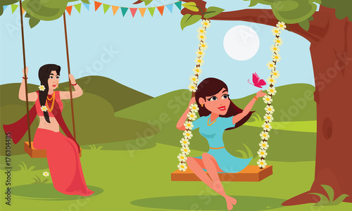 Young woman playing swings tied on tree branches. Raja Parba or ...