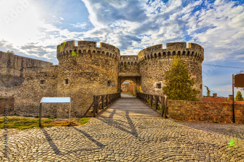 Stampa su Tela Wooden bridge, two towers and Kalemegdan walls, HDR image.