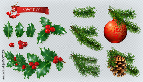 Fototapeta Christmas decorations. Holly, spruce, red berries, christmas bauble, conifer cone. 3d realistic vector icon set obraz