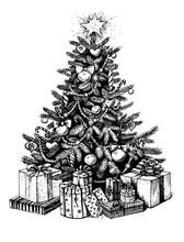 Christmas Tree And Presents. Vector Vintage Hand Drawn Illustration.