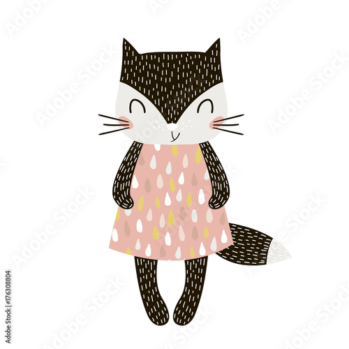 Obraz Cute cartoon cat girl in scandinavian style. Childish print for nursery, kids apparel,poster, postcard. Vector Illustration - fototapety do salonu